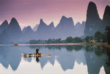 Cormorant Fishing at Dusk  Li River  Guangxi  China