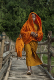 Monks Crossing Wooden Footbridge  Luang Prabang  Laos