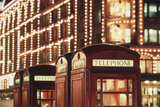 Lit Telephone Booth at Harrods  Knightsbridge  London  England