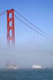 Golden Gate Bridge and Ferry in Fog  San Francisco  California  USA
