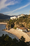 Beach and Hotels at Sunset  Propriano  Corsica  France