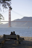 Couple with Golden Gate Bridge  San Francisco  California  USA