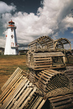 East Point Lighthouse and Lobster Traps, Prince Edward Island, Canada Papier Photo par Walter Bibikow