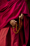 Hands of a Monk in Red Holding Prayer Beads  Leh  Ladakh  India