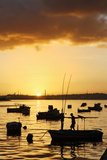 Boats Silhouetted at Sunrise  Havana Harbor  Cuba