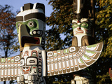 Two Totem Poles  Stanley Park  Vancouver  British Columbia  Canada