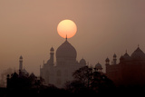 Sun Sets over Taj Mahal Mausoleum  Agra  India