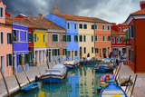 Colorful Buildings Line Canal with Boats  Burano Island  Venice  Italy