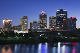 City Skyline from the Arkansas River  Dusk  Little Rock  Arkansas  USA