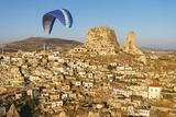Paramotor in Uchisar  Aerial  Cappadocia  Central Anatolia  Turkey