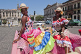 Women with Flowers at Capital in Pink Ford  Havana  Cuba