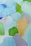 Close-Up of Colorful Beach Glass  Washington  USA