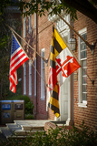 State and National US Flags  Annapolis  Maryland  USA