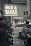 Neon Sign for Tapas Bar  Dusk  Ile Rousse  La Balagne  Corsica  France