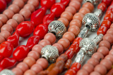 Glass and Silver Bead Necklaces  Otavalo Market  Quito  Ecuador