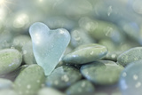 Heart-Shaped Beach Glass and Wet Rocks, Seabeck, Washington, USA Papier Photo par Jaynes Gallery