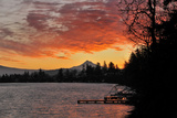 Blue Lake and Mt Hood at Sunrise  Oregon  USA