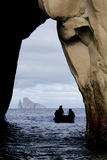 Kicker Rock Seen Through a Cave from San Cristobal  Galapagos  Ecuador
