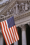 New York Stock Exchange with the US Flag  Manhattan  New York  USA