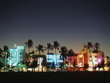 Art Deco Hotels at Dusk  Miami Beach  Florida  USA