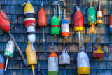 Buoys on an Old Shed at Bernard  Maine  USA