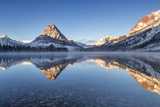 Two Medicine Lake in Winter  Glacier National Park  Montana  USA