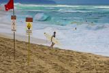 Surfers at Sunset Beach  Oahu  Hawaii  USA