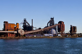 Industry Along the Detroit River  Michigan  USA