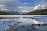 Bowman Lake in Winter  Glacier National Park  Montana  USA