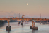 Moonset from the Arkansas River at Dawn  Little Rock  Arkansas  USA
