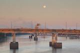 Moonset from the Arkansas River at Dawn  Little Rock  Arkansas  USA