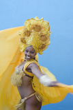 Dancer in Colorful Show Costume Against Blue Wall  Trinidad  Cuba