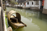 Neighborhood Canal with Covered Boat  Zhujiajiao  Shanghai  China