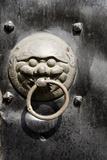 Village Door with Ornate Lion Knocker  Zhujiajiao  Shanghai  China