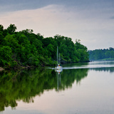 Sailboat Sailing Down the Tombigbee River in Mississippi  USA