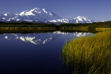 Scenic Lake View of Mt McKinley  Denali National Park  Alaska  USA