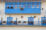 Blue Balcony and Wrought Iron Railings  Cuzco  Peru