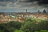 Europe  Italy  Florence Lightning and Storm Clouds over City