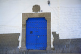Traditional Spanish Blue Door and Inca Stones  Cuzco  Peru