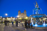 People in Plaza Bythe Church La Compania De Jesus at Dusk  Cuzco  Peru