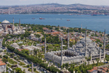 Hagia Sophia and the Blue Mosque  Aerial  Bosphorus  Istanbul  Turkey