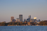 City Skyline from Lake Calhoun  Sunset  Minneapolis  Minnesota  USA