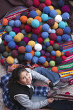 Women Weaving Next to Pile of Yarn Balls  Chinchero  Peru
