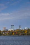 City Skyline from Lake Calhoun  Autumn  Minneapolis  Minnesota  USA