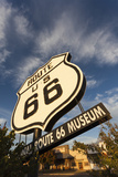 National Route 66 Sign at Sunset  Elk City  Oklahoma  USA