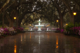 Forsyth Park Fountain with Spring Azaleas  Savannah  Georgia  USA