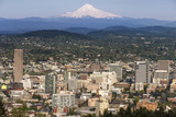 Mount Hood Looms over Downtown Portland  Oregon  USA