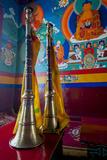 Ceremonial Horns at Shey Palace  Ledakh  India