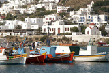 Fishing Boats in the Harbor of Chora  Mykonos  Greece