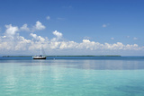 Sailboat in Clear Caribbean Sea  Southwater Cay  Stann Creek  Belize